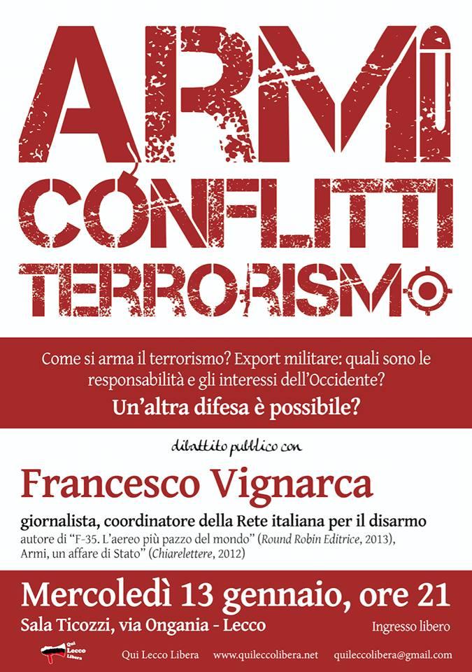 Armi, conflitti, terrorismo Lecco gennaio 2016