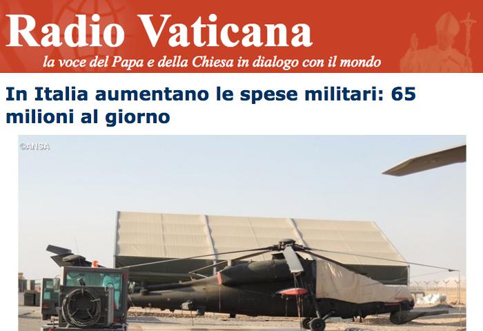 In Italia aumentano le spese militari: 65 milioni al giorno