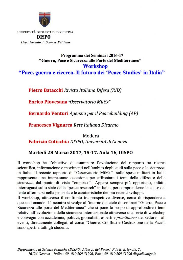 Uni Genova locandina 28 marzo