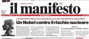 il manifesto prima nobel ICAN