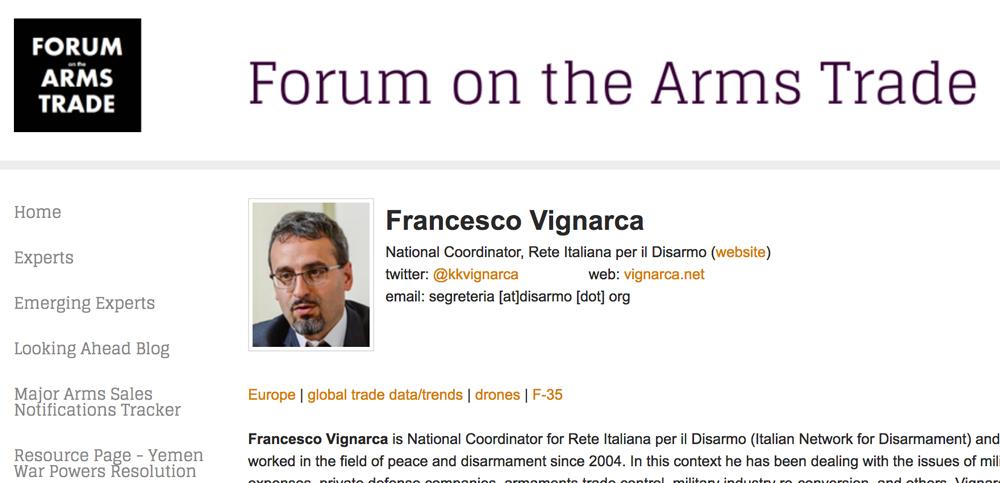 """Tra gli esperti del """"Forum on the Arms Trade"""""""