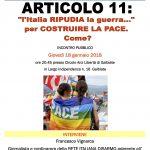 L'Italia ripudia la guerra: incontro a Galbiate il 18 gennaio