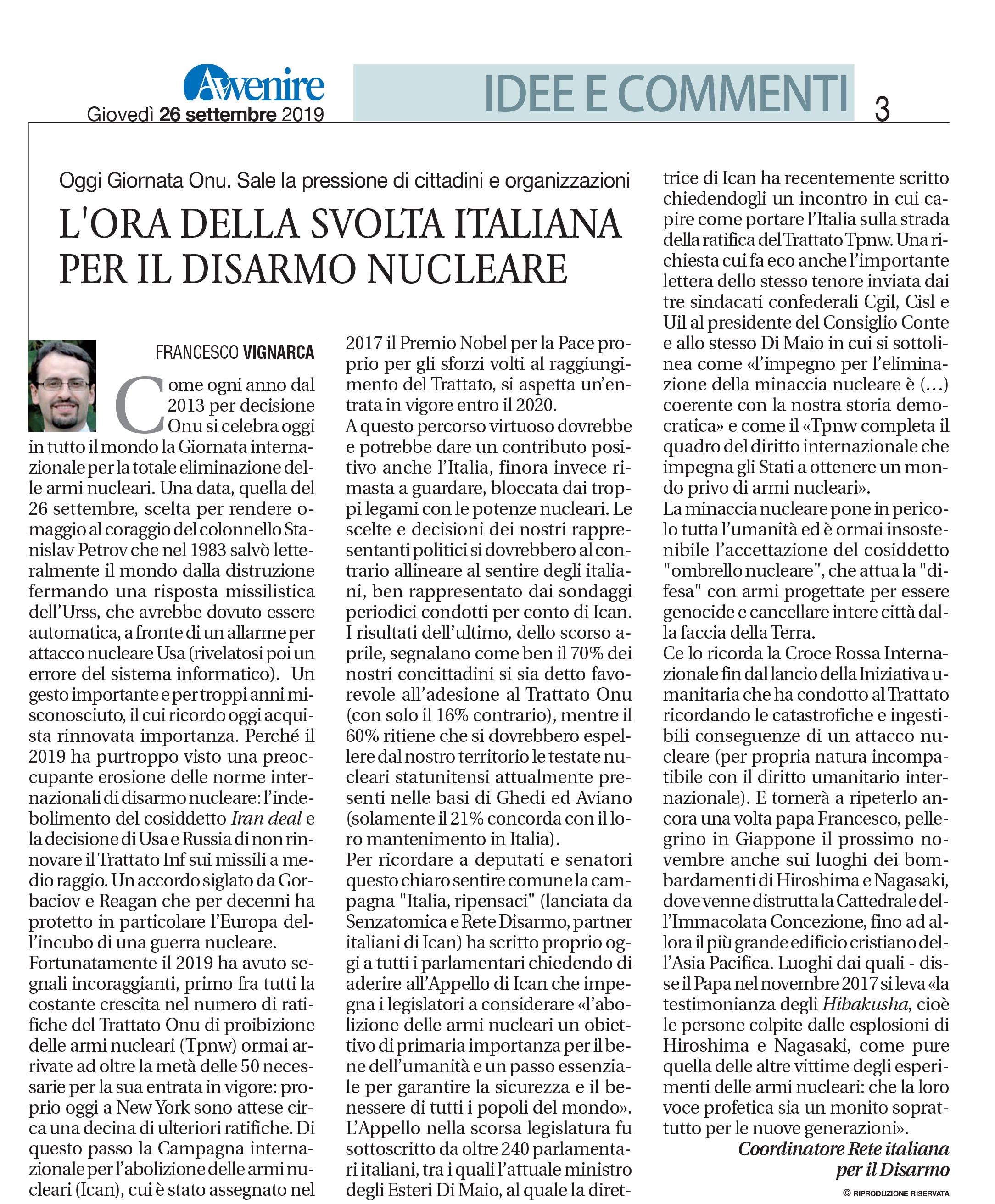 Avvenire_editoriale_GiornataDisarmoNucleare