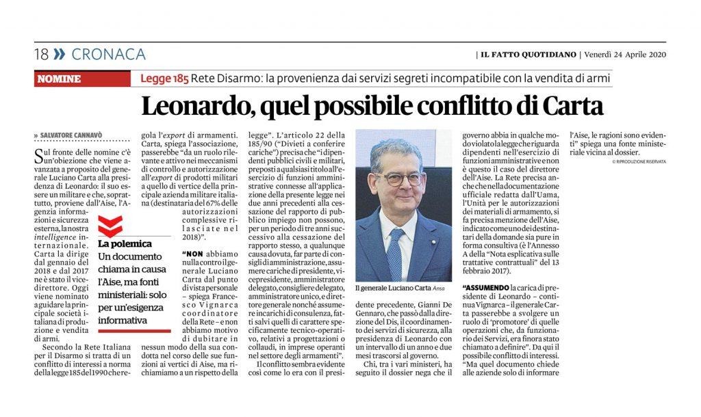 Leonardo, quel possibile conflitto di Carta